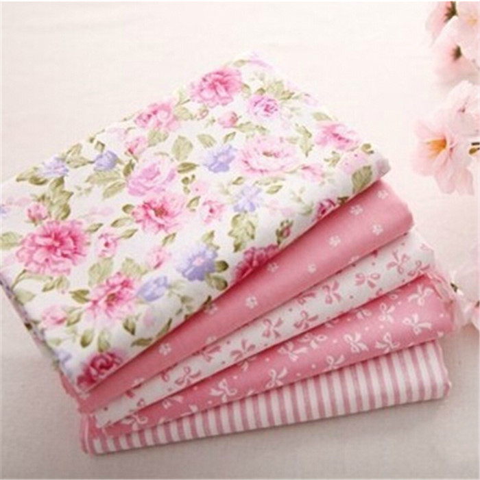 Hot 40*50CM 5PCS Sweet Pink Printed Cotton Fabric Telas Bundle DIY Patchwork Sewing Baby Toy Material Quilting Bedding Tecido(China (Mainland))