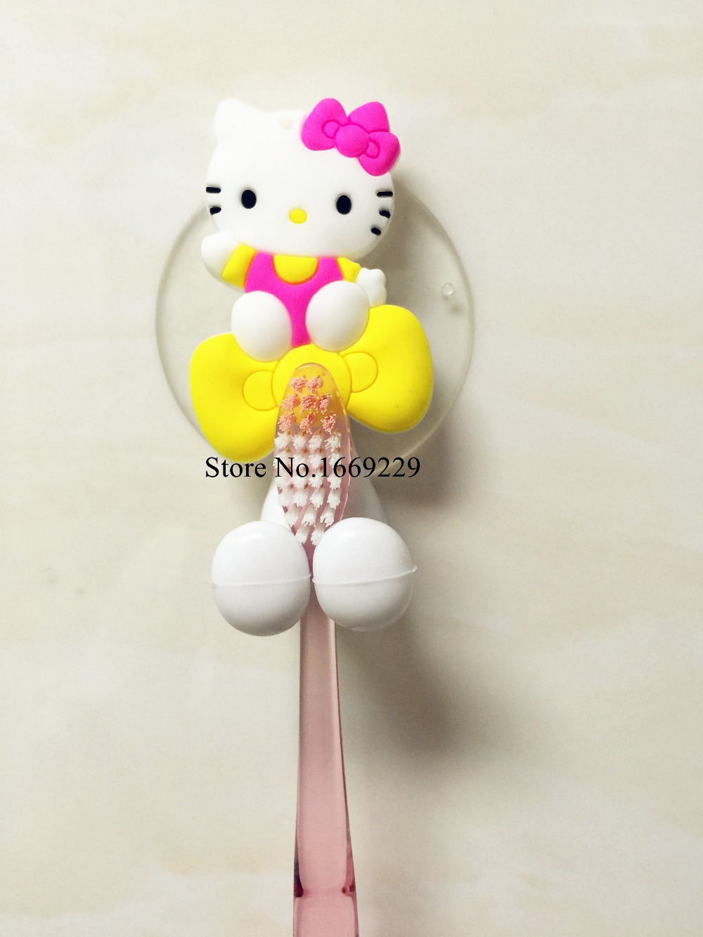 Cute Hello Kitty Cartoon suction cup toothbrush holder suction hooks bathroom set accessories(China (Mainland))