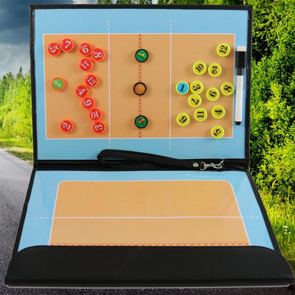 MagiDeal Sport Accs Clear Volleyball Coaching Board with Zipper PU Leather Cover Dry Erase Marker Coaches Clipboard Volleyball
