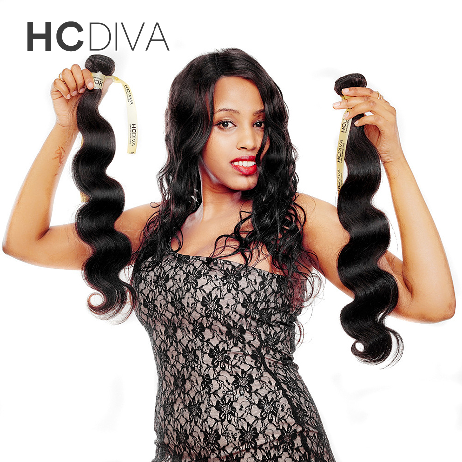 HCDIVA Free Shipping Body Wave Non-remy Hair 100g/pc Natural Color 1pc 10″-28″ 100% Brazilian Hair Weave Bundles