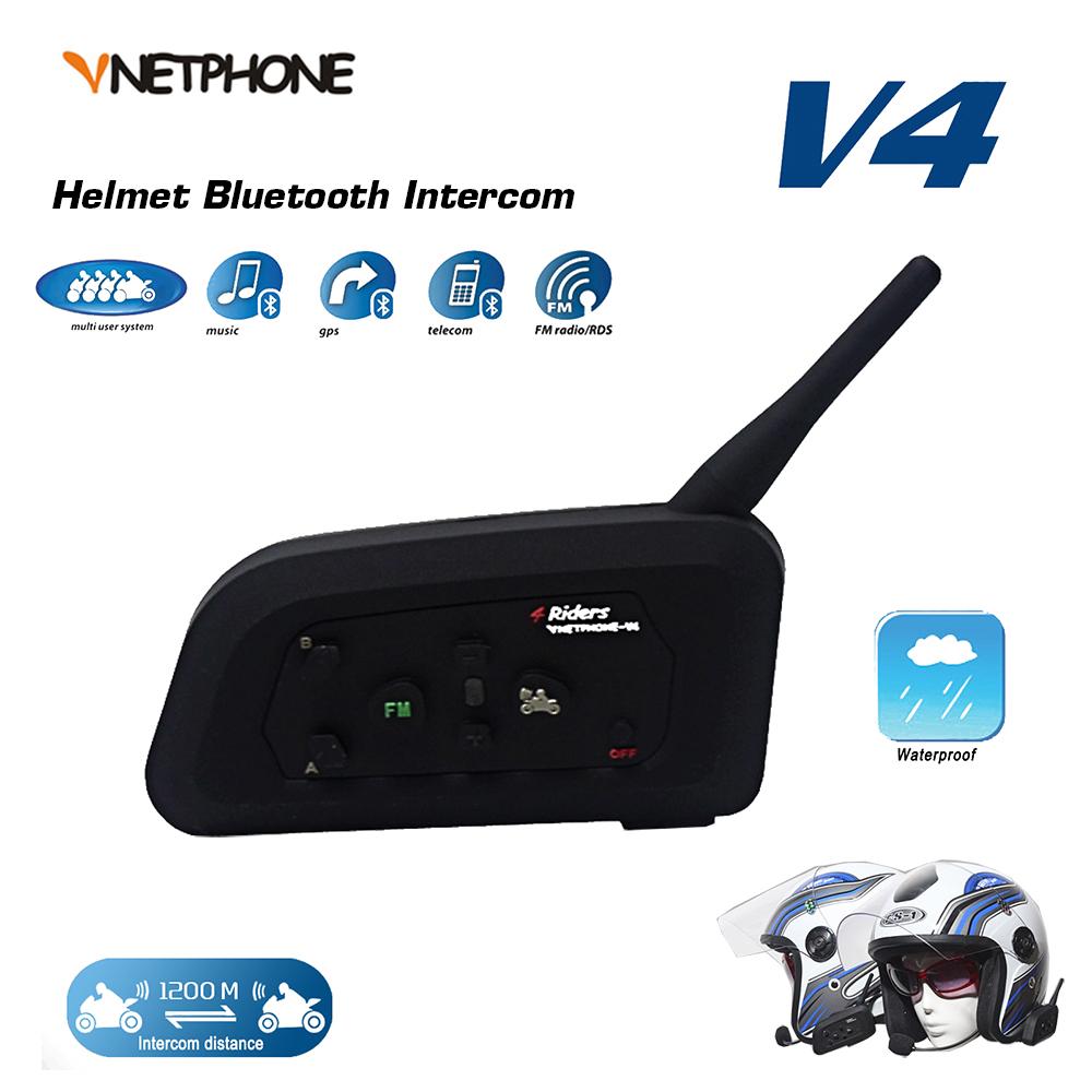 VNETPHONE 1200M BT Motorcycle Helmet Bluetooth Headset Interphone 4 Riders Fully Duplex Wireless Communication Intercom(China (Mainland))