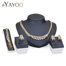 African Beads Wedding Accessories Jewelry Sets Summer Style Fine Crystal Gold Plated Bridal Necklace Bracelet Earrings Rings Set(China (Mainland))