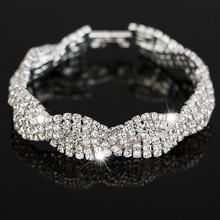 Luxury Wedding Austrian Crystal Bracelets For Women. Charm Silver Plated Friendship Chain Bracelets Bangles Fashion Jewelry(China (Mainland))