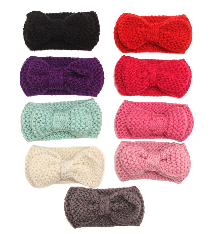 8 pcs/lots , baby girls messy bow knit headband ,crochet headband bow winter warm 9 colors(China (Mainland))