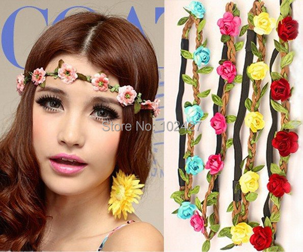 Hotsale New Style Wholesale Bohemian Headband Hairbands Rose Flower Braided Leather Elastic Headwrap Hairband Hair Ornaments(China (Mainland))
