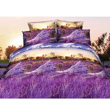 Purple Luxury 3D Printed Bedding Set Lavender Queen Size Duvet Cover+Bed Sheet+2 Pillowcases Home Textiles Bedclothes 4pcs/set(China (Mainland))