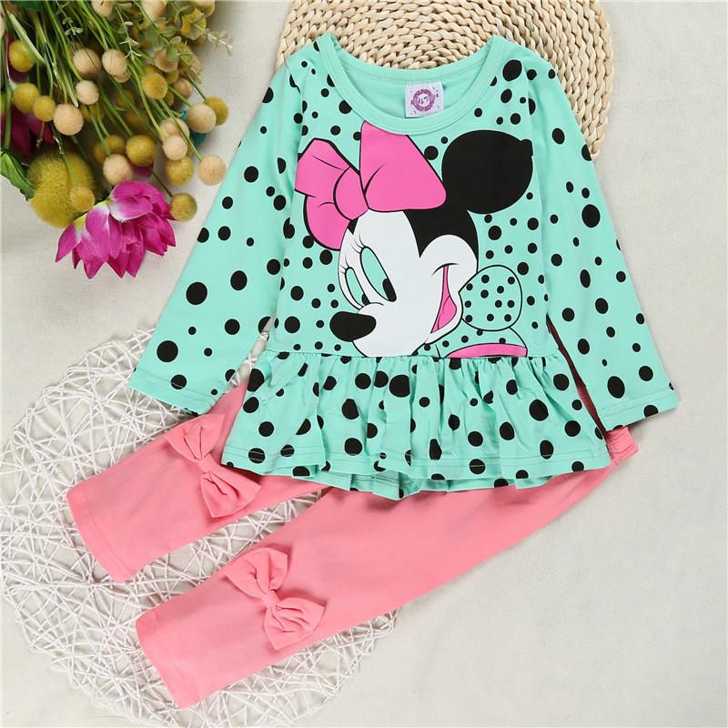2016 Grils T shirt leggings pants baby kids suits 2 pcs Minnie Mouse girls clothing sets children clothes bow ensemble fille