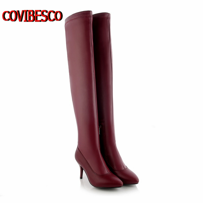 Big Size 34-43,Women's Winter/Autumn Over the Knee Boots Sexy Thin High Heel Boots Fashion Pointed toe knight Boots Women Shoes