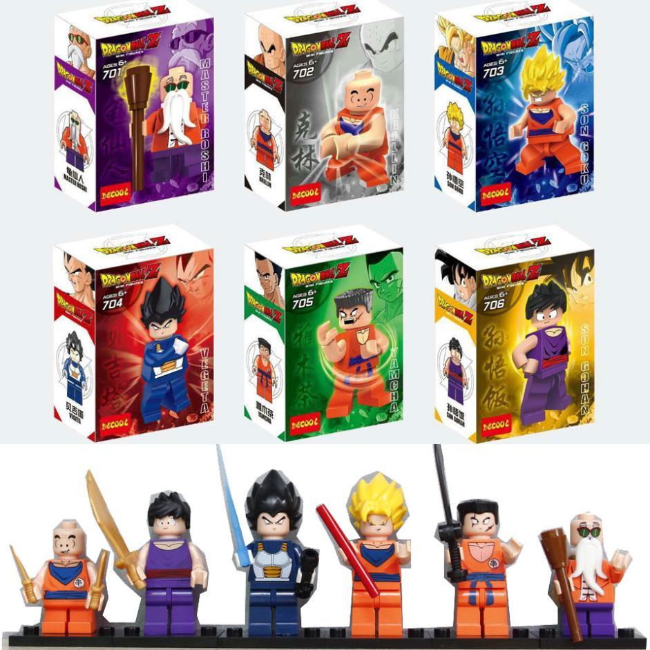 6pcs/Lot 2015 Dragon Ball Krillin Son Gohan Son Goku Master Roshi Minifigures minifigures building blocks Toys Figures(China (Mainland))