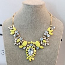 Loom Neon Acrylic Geometric Gemstone Gold Plated Statement Necklaces & Pendants 2014 New Fashion Jewelry For Women Wholesale N23