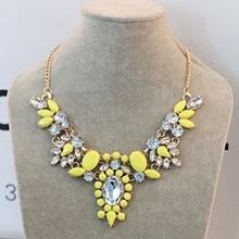 Moon Candy Yellow Shourouk Flower Gold Choker Collar Statement Necklaces Pendants 2015 New Fashion Jewelry Women