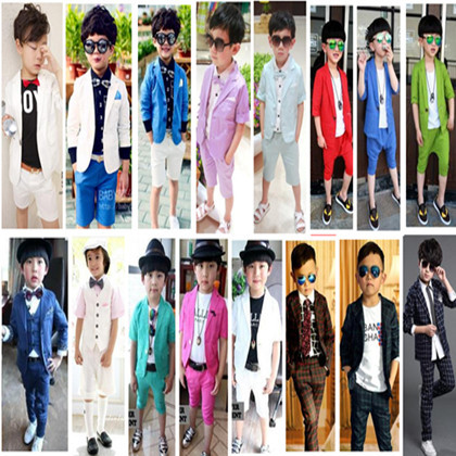 jacket+pants 2015 casual fashion baby boys blazers suits slim plaid wine red blue spring clothing wedding party child suit(China (Mainland))