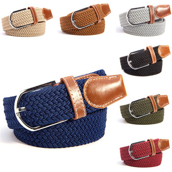 Mens Womens Canvas Plain Webbing Metal Buckle Woven Stretch Waist Belt 31 Colors