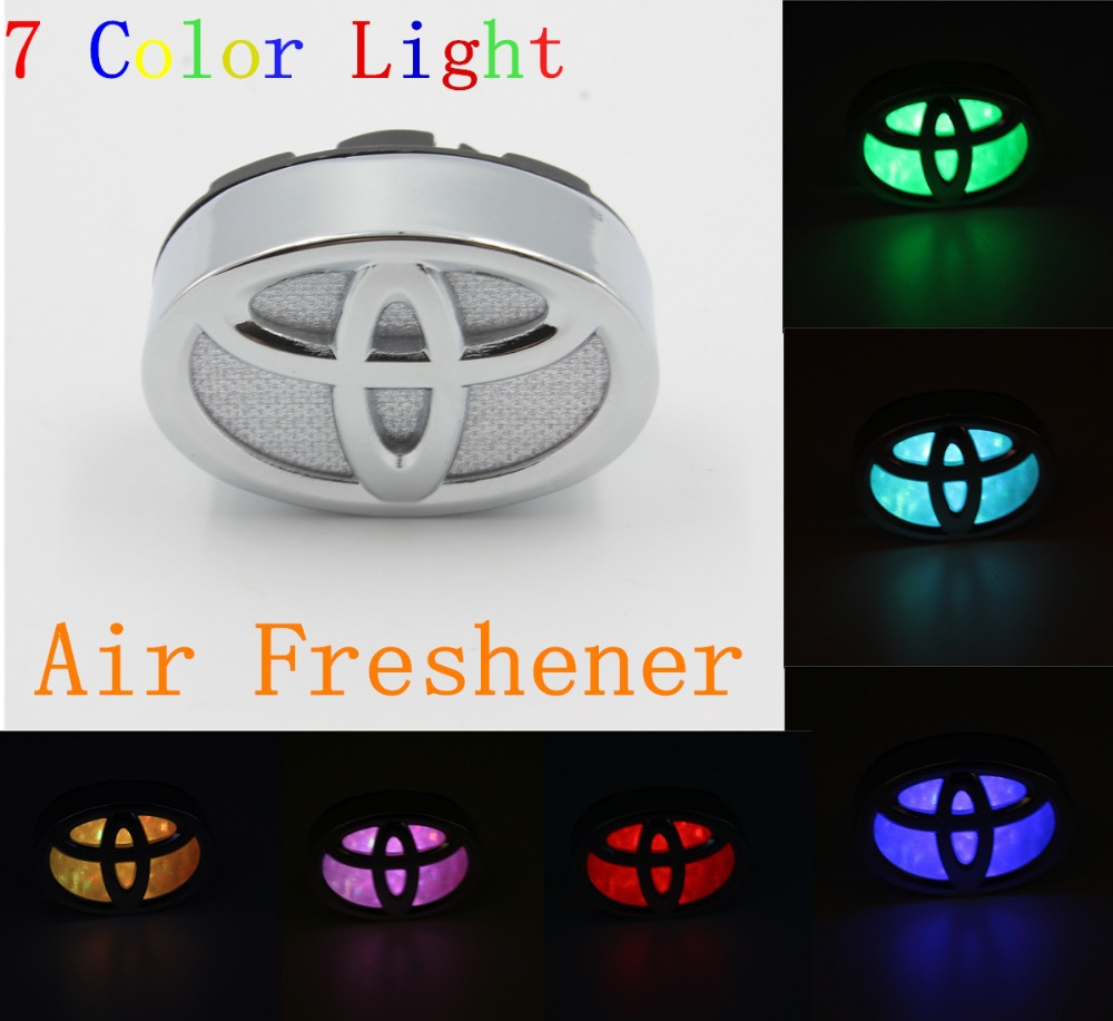 Toyota corolla 7 Color car logo light source tuyere high-grade air-conditioning Freshener outlet perfume perfume alloy plating(China (Mainland))
