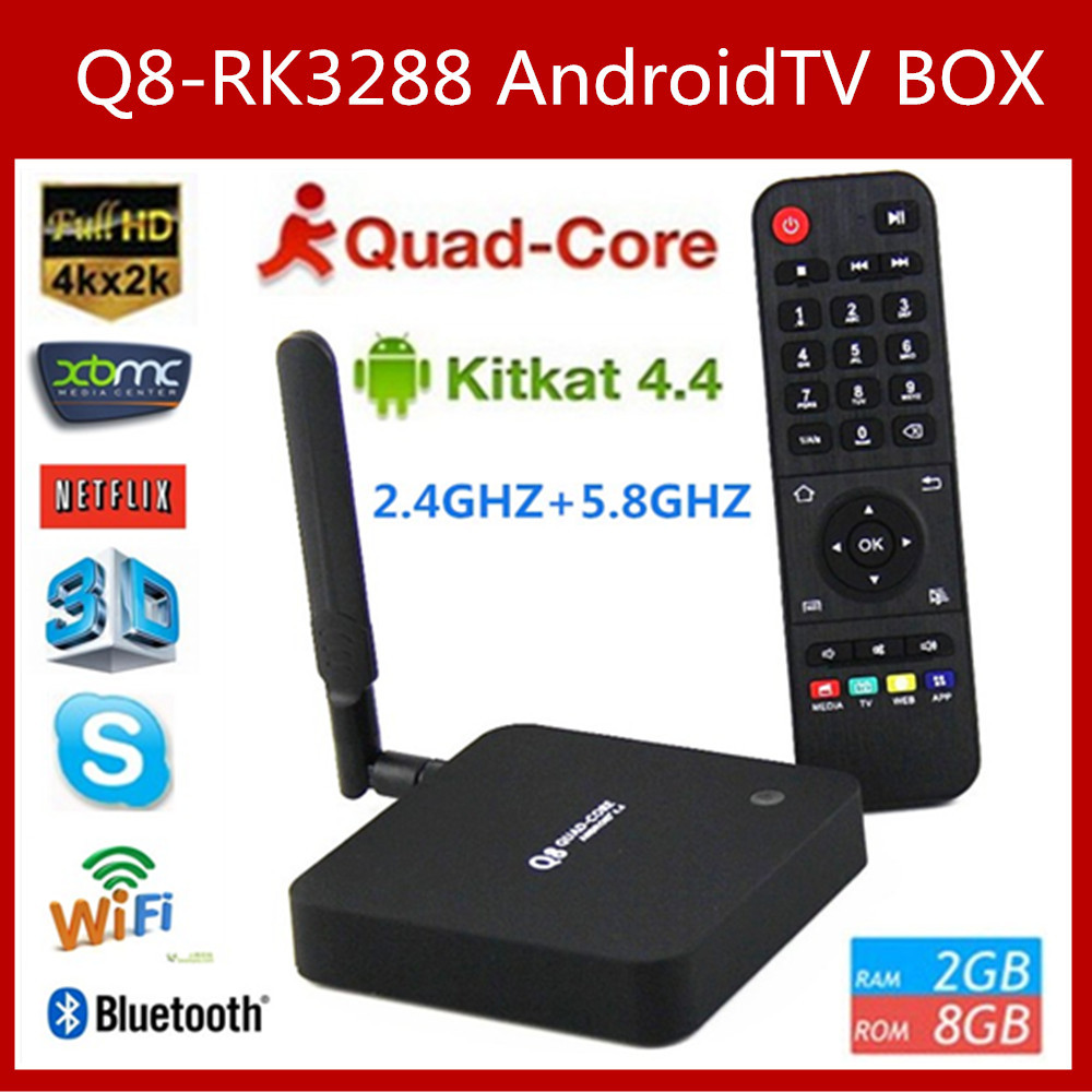 Vensmile Original Q8 Rockchip RK3288 Android 4.4 Quad Core 2GB+8GB Android TV BOX 2.4G/5G Dual Band wifi HDMI H.265 Media Player(China (Mainland))