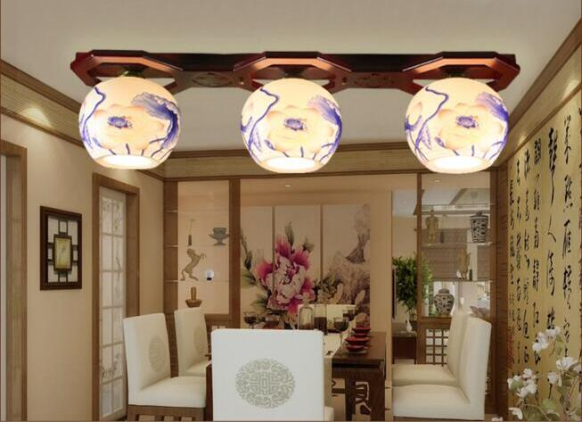 New Classical Chinese Ceramic Bamboo E27 Ceiling Lamps 3 Head Lighting Dining Room Ceiling Lights(China (Mainland))