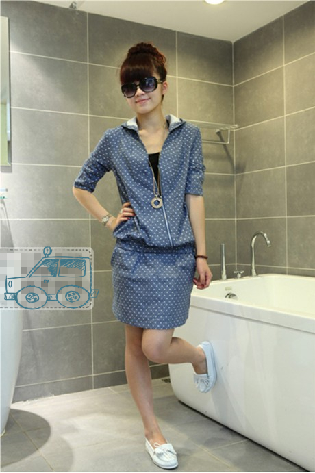 Free Shipping 2013 spring new wave of large size casual denim hooded three-quarter sleeves thin dress(China (Mainland))