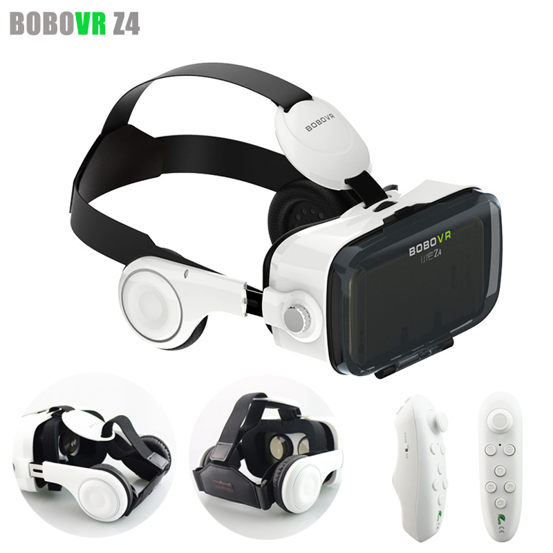 With Headphone BOBOVR Z4 Virtual Reality VR 3D Glasses Headset Google Cardboard oculus rift Helmet for 4-6.0' Phone + Gamepad(China (Mainland))