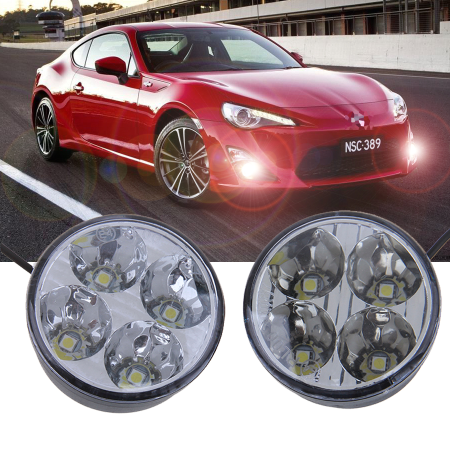 -90% OFF Free Shipping Round Auto Car Lights 4 LED DRL Driving Daytime Running Head Fog Light Lamp White(China (Mainland))