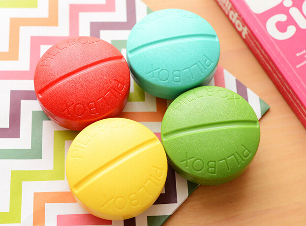 1X Candy Cute Round Pill Medicine Travel Outdoor Case Storage Splitters Box Jewelry Display Cosmetic Makeup Organizer(China (Mainland))