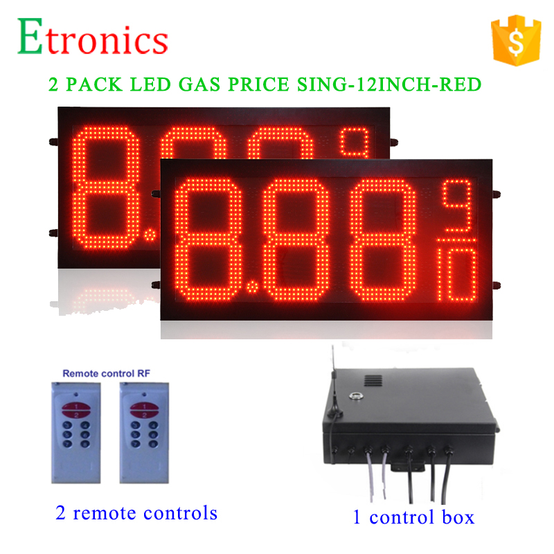High quality easy installation 12 inch Red Gas price signs with controller system LED Digital Gas Price Sign for Gas Station(China (Mainland))