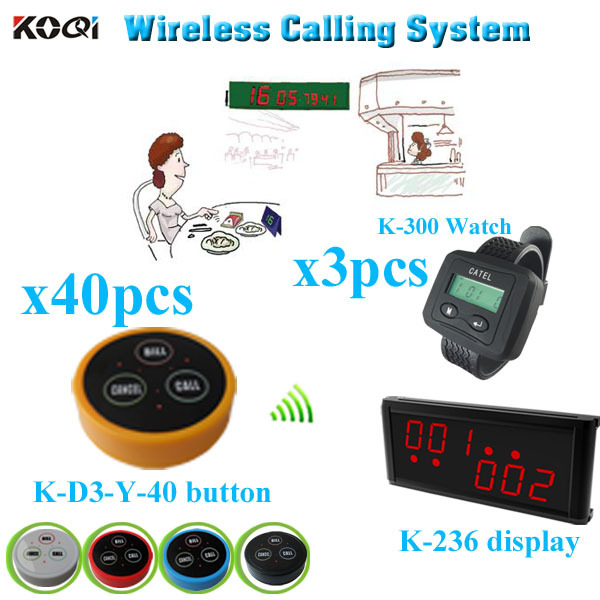 Waiter Calling System for Restaurant with monitor pager transmitter (1 display + 3 watch +40 table bell button)(China (Mainland))