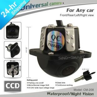 In Stock Wholesale 8 Pcs/Lot HD CCD Car Front View/Rear View Parking Reversing Universal Camera Night Vision Waterproof Black