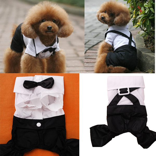 Handsome Formal Dog Tuxedo Pet Puppy Outfit With Bowtie Wedding Party Suit Dog Clothes Apparel S-XXL(China (Mainland))