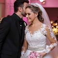 Vestido de Noiva Romantic Winter Long Sleeve Wedding Dress Lace See Through Belt A Line Bride