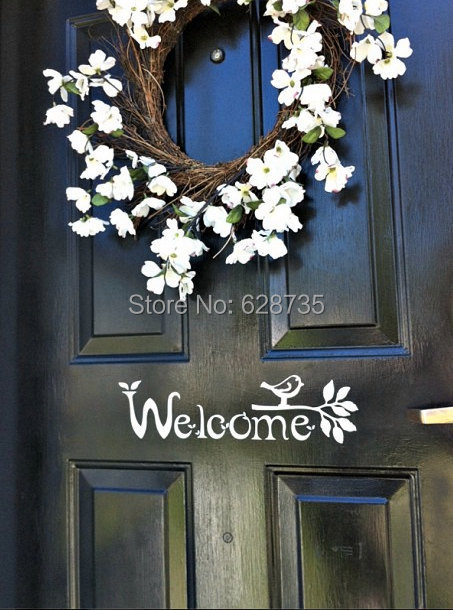 Welcome Sign Vinyl Front Door Decal with bird and branch, FREE SHIPPING Housewares F3051(China (Mainland))