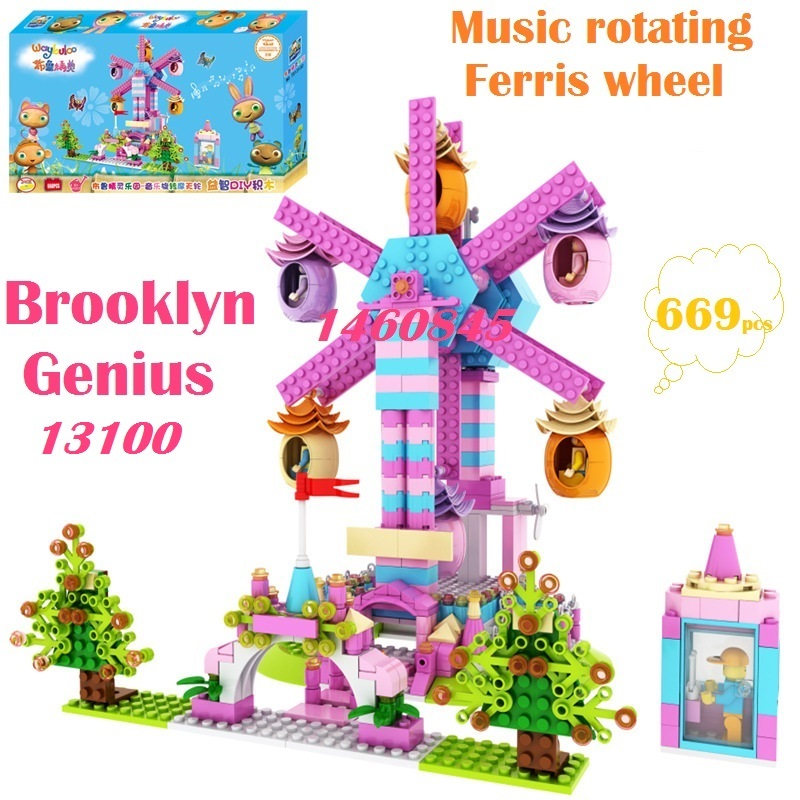 Marvel model toy rotating music Ferris wheel Brooklyn Genius Music Castle TS13100 13103 minifigures building blocks classic toys(China (Mainland))