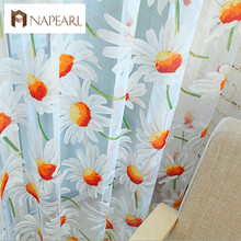 Window screening balcony finished product burnout design flower tulle curtain for living room sunflower kitchen curtains(China (Mainland))