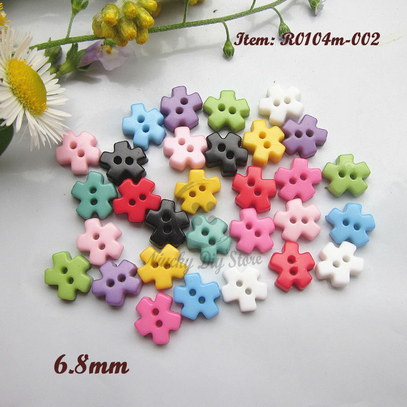 Mini buttons 250pcs 6.8mm mixed color snowflake shape tiny doll buttons resin small buttons products for sewing and crafts(China (Mainland))