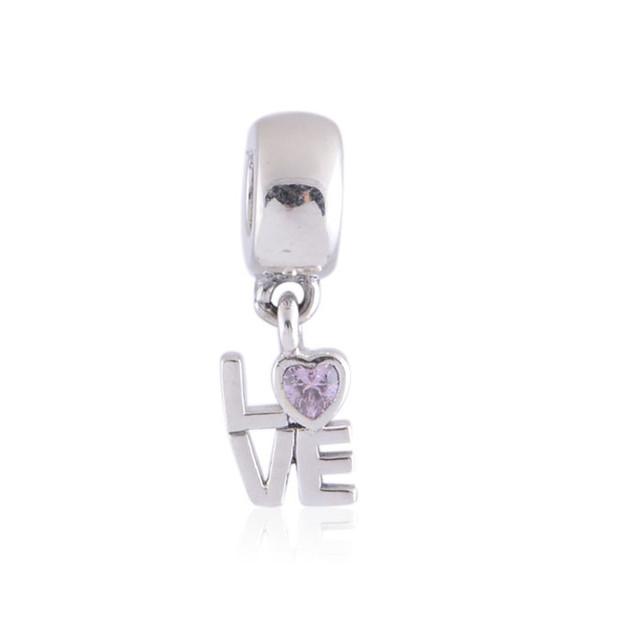 Аутентичные стерлингового серебра 925 розовый кристалл CZ письма любви в форме сердца качает подвески подходит пандора браслет ожерелья и кулоны