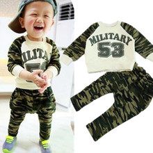 spring clothing new 53 camouflage suit baby boys and girls children's letters T-shirt + casual pants set