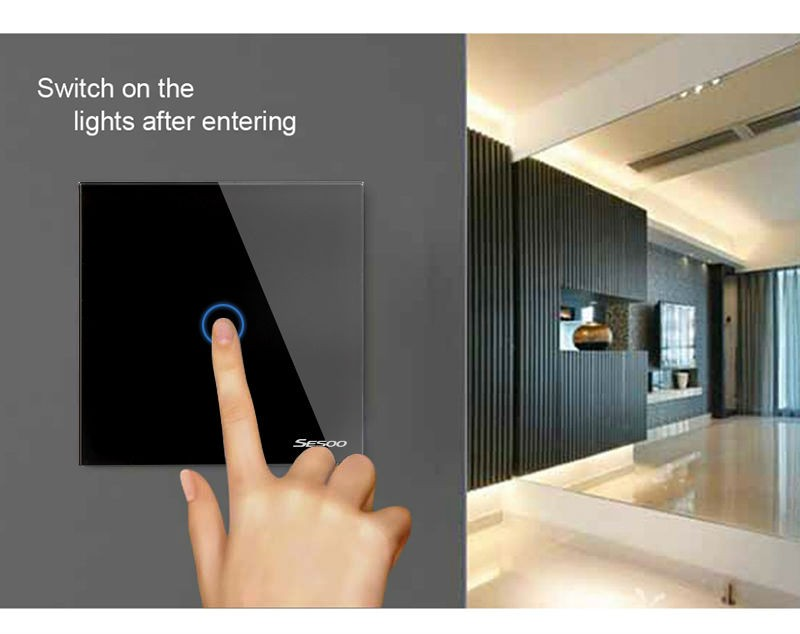 EU/UK Standard SESOO 1 Gang 1 Way Remote Control Switch ,RF433 Smart Wall Switch, Touch Light Switch For Smart Home