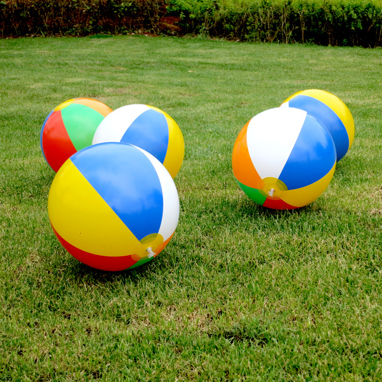 2Pcs 2016 foreign trade hot color 23cm inflatable ball children playing in the water ball toy 6 color beach ball Toy Balls(China (Mainland))