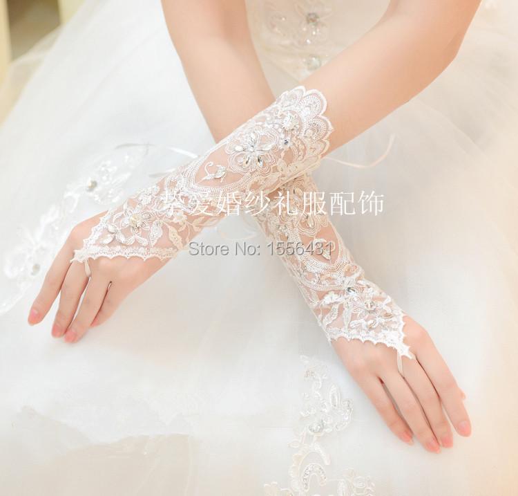 elegant the bride wedding dress gloves luxury diamond