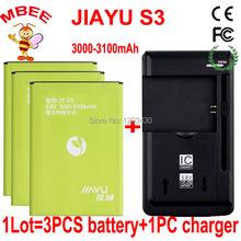 1LOT=1PC Charger+3PCS Original 3000-3100mAh JIAYU S3 JY-S3 Battery External Battery Bateria Batterij Accumulator AKKU PIL