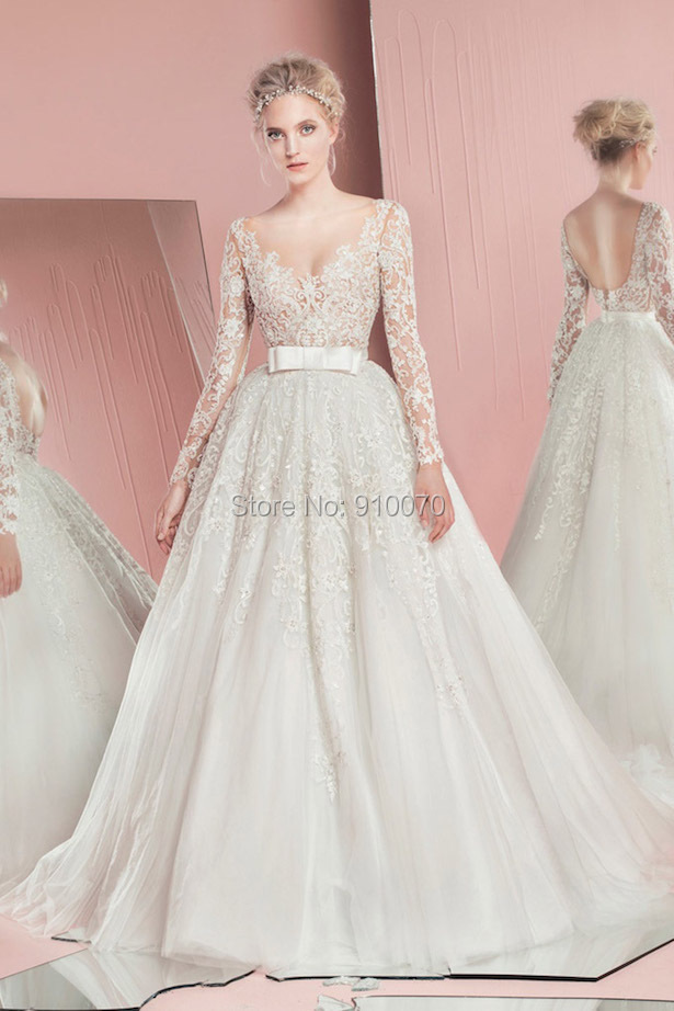 2015 custom made vestido v neck long bridal gown romantic for Long sleeve beaded wedding dress