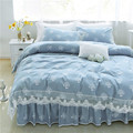 Love tree printed bedding set cotton 100 pure color lace ruffle duvet cover soft bed skirt