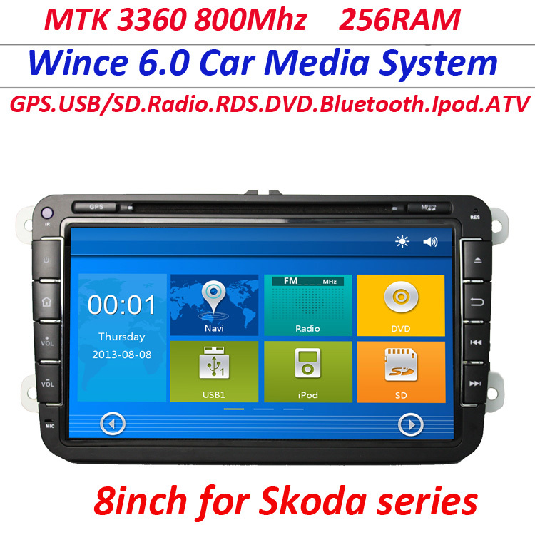 2 Din GPS Navigation MTK Car DVD Player for universal skoda octavia superb fabia WITH USB IPOD Radio gps good selling(China (Mainland))