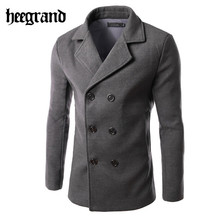 2016 New Men Solid Blends Casual Wool Jackets Double Breasted Collar Turn-down Manteau Homme Man Coats 6 Colors MWN155(China (Mainland))