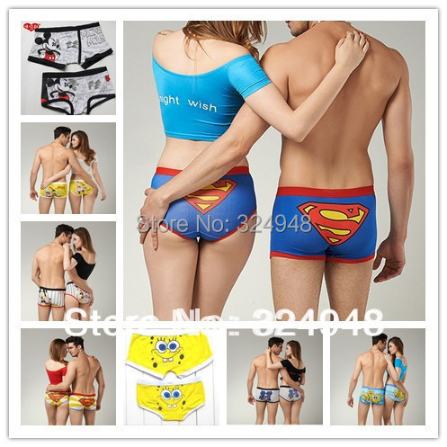 High quality new 2015 100% cotton cartoon lovely lover's cotton underwear Boxer Shorts (1 lot =1 lady and 1 men underwear )(China (Mainland))