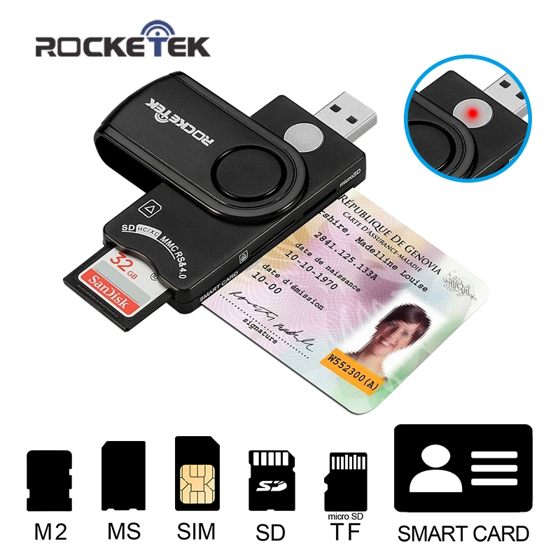 Rocketek Smart Card Reader DOD Military USB Smart Card Reader / CAC Common Access Card Reader Writer SD micro SD M2 MS SIM cards(China (Mainland))