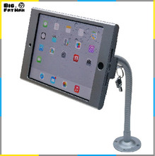 tablet  display flexible gooseneck wall mount holder stand for iPad mini security safe locked metal box foothold support arm