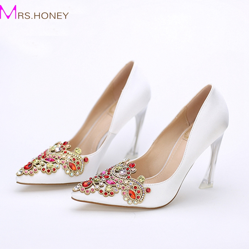 Фотография High Quality Satin Women Pumps Pointed Toe High Heels Bridal Apricot Satin Rhinestone Shoes Fashion Design Evening Party Shoes