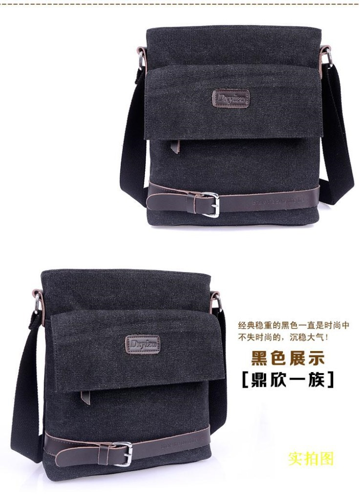 2014 new summer trend canvas bag with Leather Shoulder Bag men messenger bags free shipping<br><br>Aliexpress