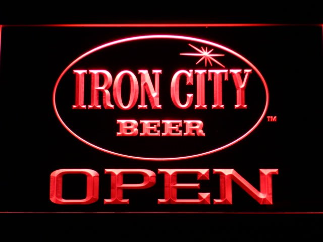 077-r Iron City Beer OPEN Bar LED Neon Sign with On/Off Switch 7 Colors to choose(China (Mainland))