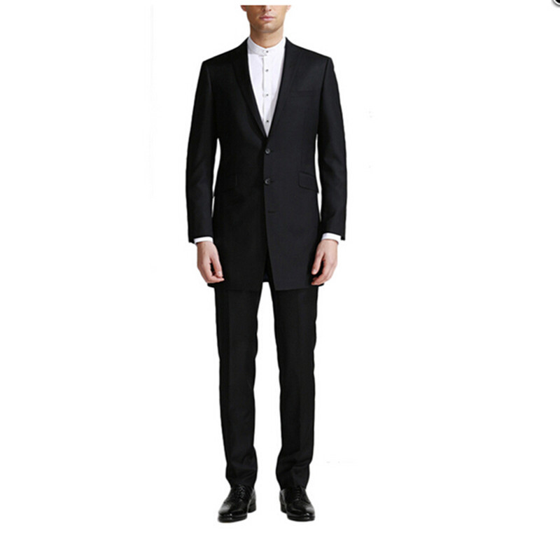 Good Quality Mens Tuxedo Peak Lapel Three Buttons Business Suits Black Long Jacket Formal